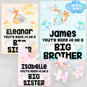 Pregnancy Announcement Big Brother Sister Jigsaw Various Sizes & Pieces