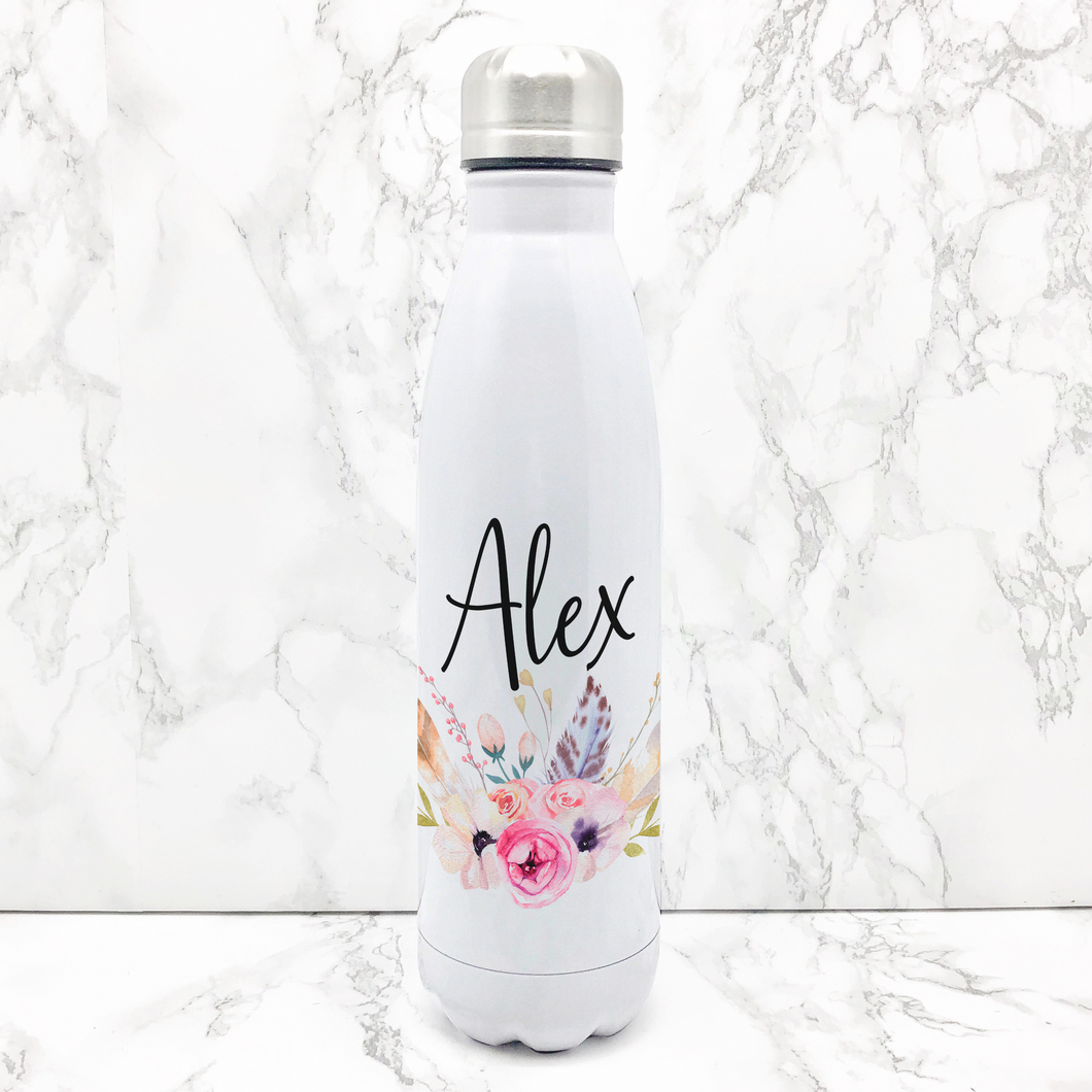 Boho Floral Personalised Travel Flask