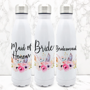 Wedding Role Boho Floral Travel Flask Bride Bridesmaid Maid of Honour