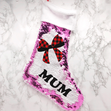 Personalised Bow Fur Topped Sequin Christmas Stocking