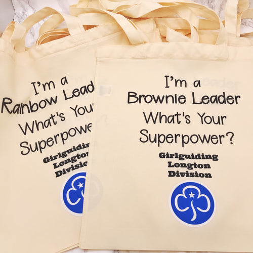 I'm a Brownie/Rainbow/Guide Leader What's Your Superpower Girlguiding, Brownies, Rainbow Tote Bag