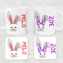 Bunny Rabbit Face Personalised Mug and Coaster Set