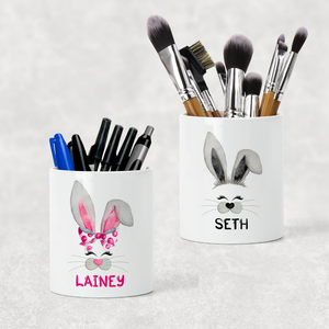 Bunny Rabbit Face Personalised Pencil Caddy / Make Up Brush Holder
