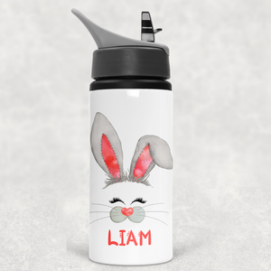 Bunny Rabbit Face Personalised Straw Water Bottle 650ml