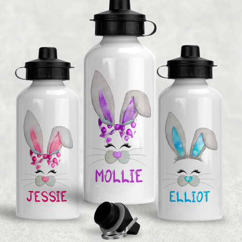 Bunny Rabbit Face Personalised Aluminium Water Bottle 400/600ml