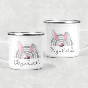 Bunnybow Hoppy Easter Bunny Rabbit Personalised Camping Mug and Coaster Set