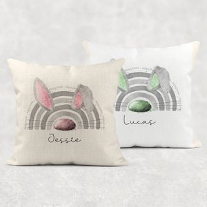Bunnybow Hoppy Easter Bunny Rabbit Cushion Linen White Canvas