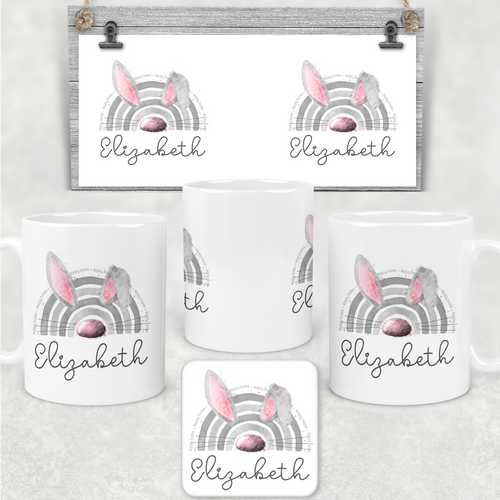 Bunnybow Hoppy Easter Bunny Rabbit Personalised Mug and Coaster Set