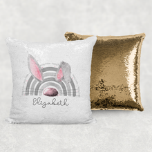 Bunnybow Hoppy Easter Bunny Rabbit Personalised Mermaid Sequin Cushion