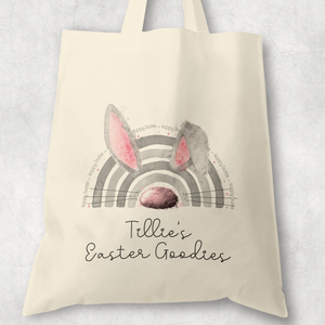 Bunnybow Hoppy Easter Bunny Rabbit Personalised Watercolour Tote Bag