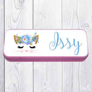 Personalised Printed Cat School Pencil Tin - Pencil Case - Molly Dolly Crafts