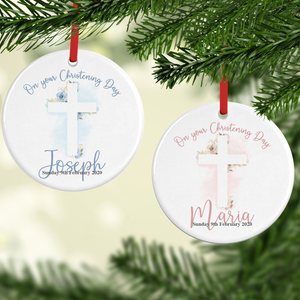 On Your Christening Day Watercolour Personalised Ceramic Round Christmas Bauble