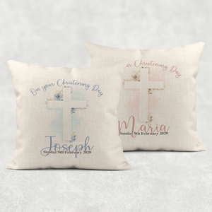 Christening Day 1st Communion Personalised Cushion Linen White Canvas