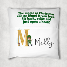 Christmas Eve Personalised Pocket Book Cushion Cover White Canvas