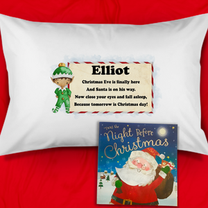 Elf Personalised Christmas Eve Pillow Case & Book
