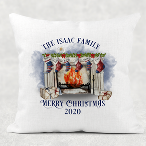 Christmas Fireplace Personalised Cushion Cover Linen White Canvas
