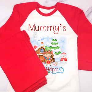 Christmas Santa's Little Helper Raglan Pyjamas