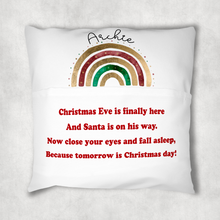 Christmas Rainbow Personalised Pocket Book Cushion Cover White Canvas