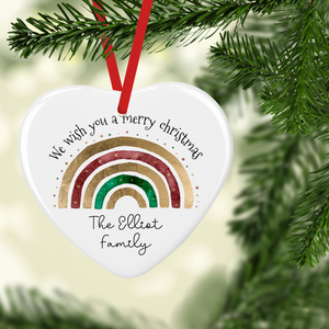 Festive Rainbow Watercolour Personalised Ceramic Round or Heart Christmas Bauble