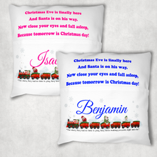 Christmas Train Personalised Pocket Book Cushion Cover White Canvas