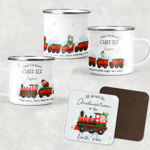 Father Christmas' Chief Elf Christmas Train Personalised Camping Mug & Coaster Christmas Hot Chocolate