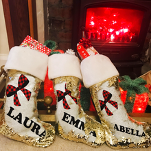 Personalised Bow Gold Sequin Christmas Stocking - Christmas - Molly Dolly Crafts