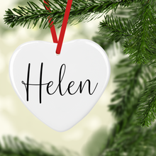 Christmas Wreath with Name Double Sided Ceramic Round or Heart Christmas Bauble
