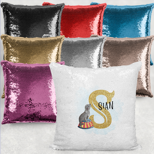 Circus Alphabet Watercolour Mermaid Sequin Cushion