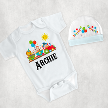 Circus Themed New Baby Vest Bib Hat Dribble Cloth Gift Set