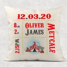 Carnival Circus Baby Birth Stat Personalised Cushion Linen White Canvas