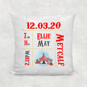 Carnival Circus Baby Birth Stat Personalised Sequin Reveal Cushion