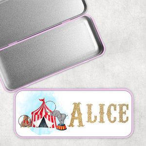 Circus Personalised School Pencil Tin
