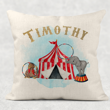 Circus Personalised Cushion Linen White Canvas