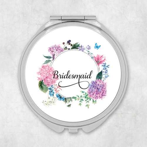 Bridesmaid Floral Wreath Wedding Compact Mirror