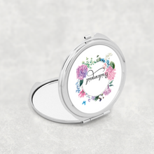 Bridesmaid Floral Wreath Wedding Compact Mirror - Pocket Mirror - Molly Dolly Crafts