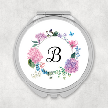 Initial Floral Wreath Wedding Compact Mirror
