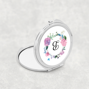 Initial Floral Wreath Wedding Compact Mirror - Pocket Mirror - Molly Dolly Crafts