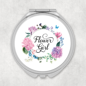 Flower Girl Floral Wreath Wedding Compact Mirror - Pocket Mirror - Molly Dolly Crafts