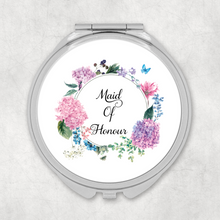Maid of Honour Floral Wreath Wedding Compact Mirror - Pocket Mirror - Molly Dolly Crafts