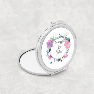 Maid of Honour Floral Wreath Wedding Compact Mirror