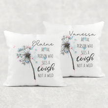 Be The Person Who Sees The Wish Not The Weed Cushion Linen White Canvas