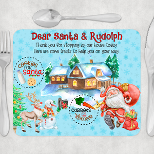 Dear Santa & Rudolph Christmas Eve Santa's Treats Placemat