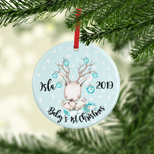 Deer Baby's First Christmas Ceramic Round or Heart Christmas Bauble