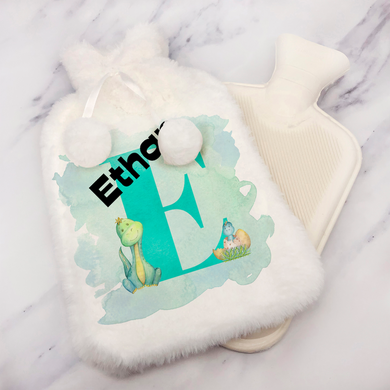 Dino Alphabet Personalised Hot Water Bottle