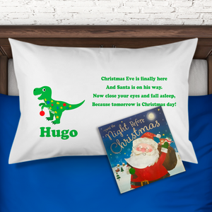 Dinosaur Personalised Christmas Eve Pillow Case & Book - Christmas - Molly Dolly Crafts
