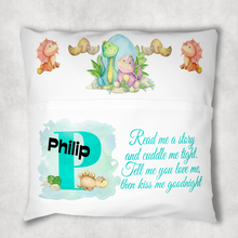 Dinosaur Alphabet White Canvas Book Pocket Cushion Cover
