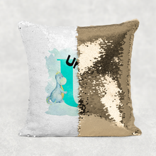 Dino Alphabet Watercolour Mermaid Sequin Cushion