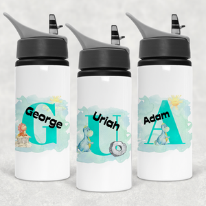 Dino Alphabet Personalised Straw Water Bottle 650ml