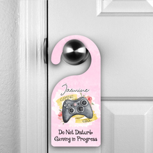 Personalised Gamer Girl Do Not Disturb Room Door Hanger Gaming in Process