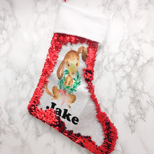 Personalised Dog Fur Topped Sequin Christmas Stocking